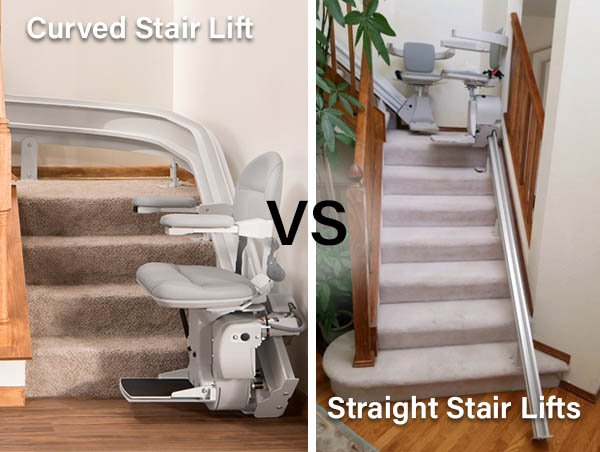 One Bruno Elite curved stair lift versus two Bruno Elan straight stair lifts