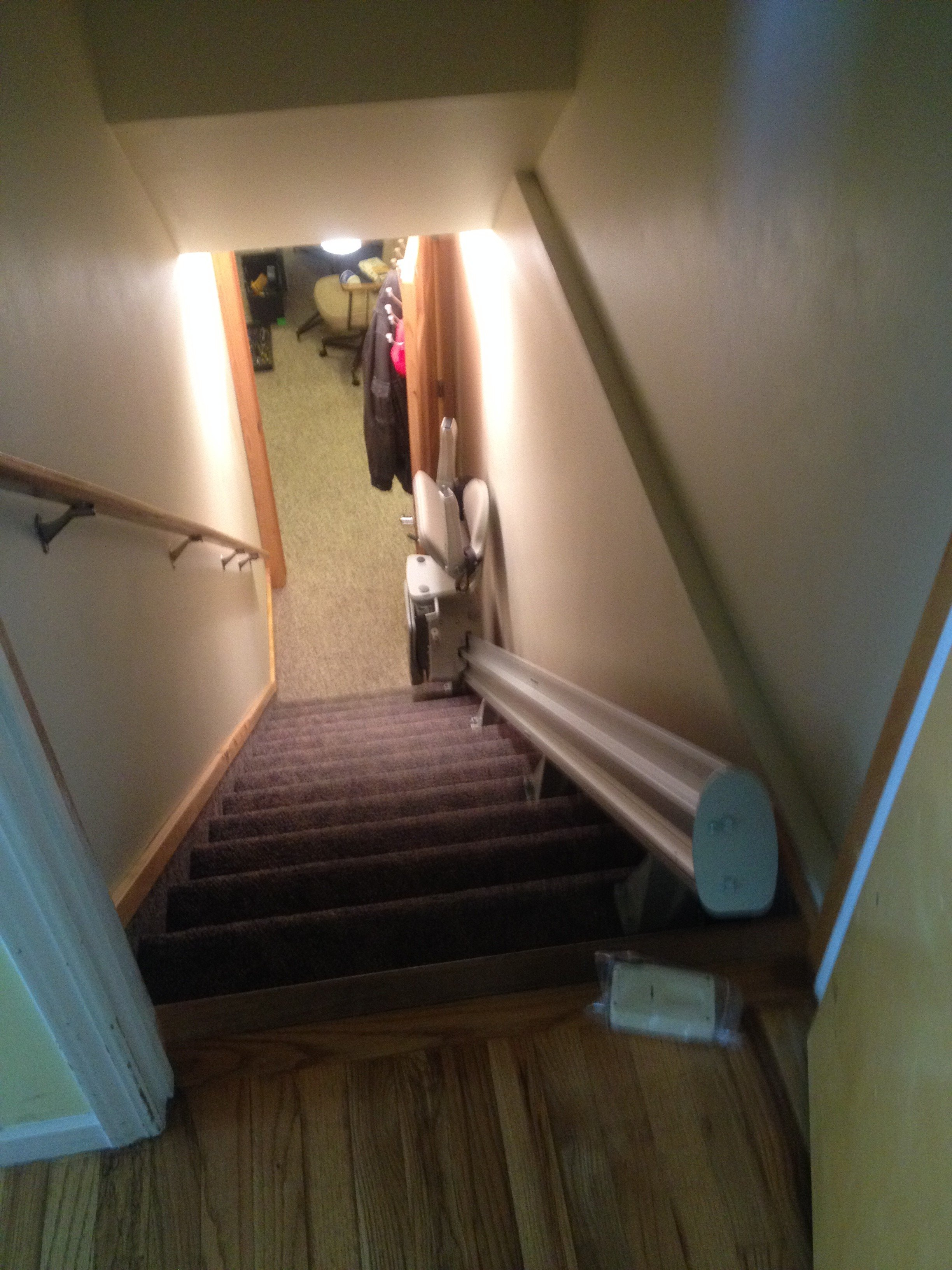 Chair Lift To Basement With Room For Door At Top In
