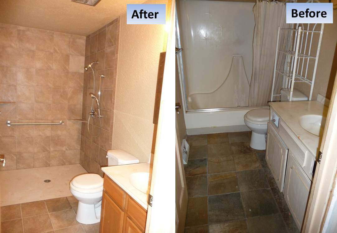 Curbless Shower Tub Conversion for a Handicap Shower in Parker, CO