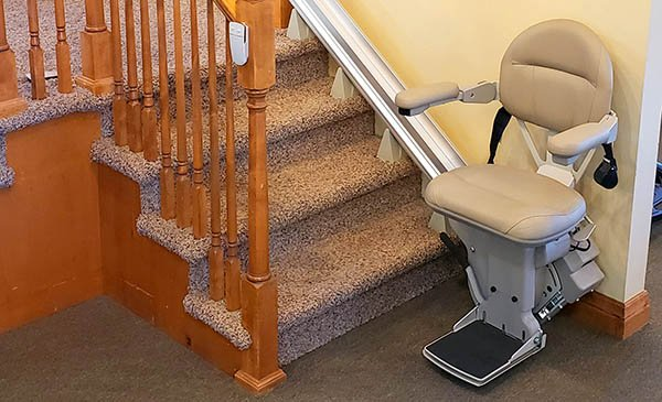 A Bruno straight stair lift installed at Accessible System's Denver, Colorado showroom