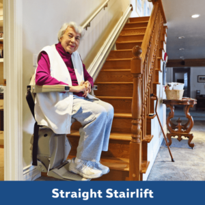 Senior woman on a straight stair lift in her Kansas City home