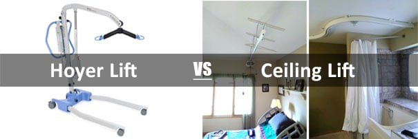 Hoyer Lift versus ceiling lift collage and comparison